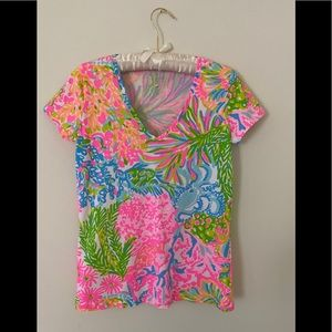 Lilly Pulitzer Michele Lover's Coral Tee Size S